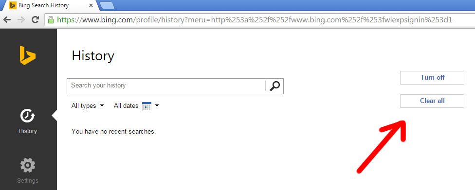 delete web search history on google yahoo and bing notes
