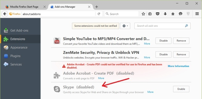 Remove Skype Extension from Firefox | Notes