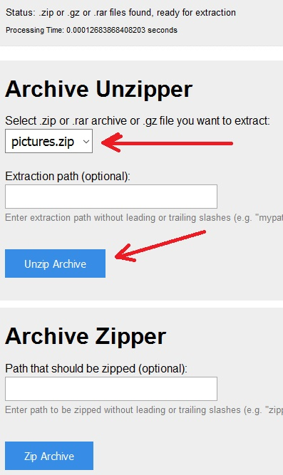 Extract ZIP file remotely on a Server via FTP in Windows | Notes