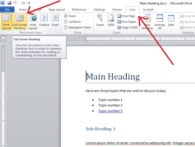 View full screen in microsoft word 2010 notes you can always manipulate the view by clicking the drop down button labeled as view options on top right screen to close the full screen mode ccuart Choice Image
