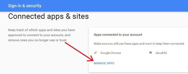 Disallow Google Chrome Apps and Sites Connected To Your