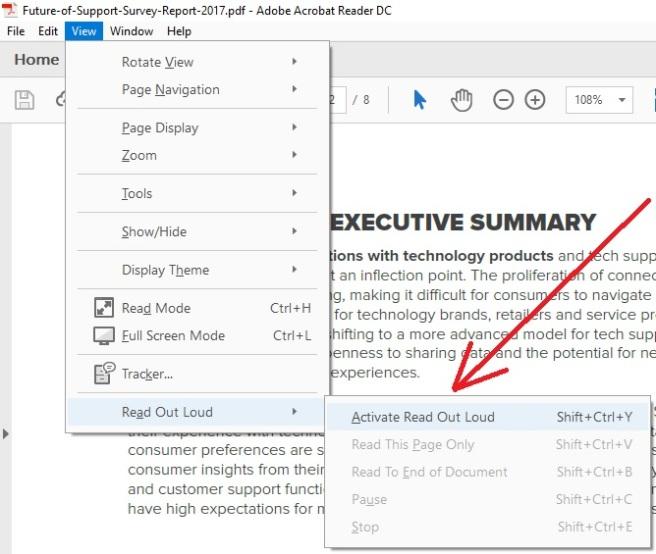 Text To Speech PDF on Adobe Acrobat Reader DC in Windows 10